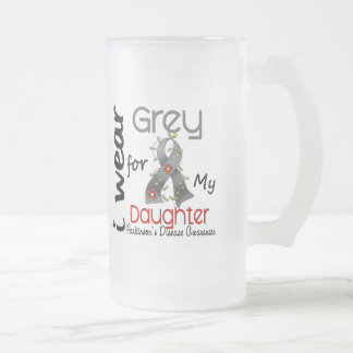 Parkinsons Disease I Wear Grey For My Daughter 43 Frosted Glass Beer Mug