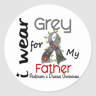 Parkinsons Disease I Wear Grey For My Father 43 Classic Round Sticker