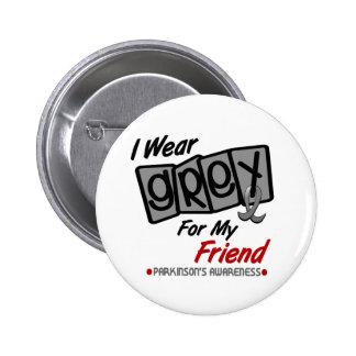 Parkinsons Disease I WEAR GREY For My Friend 8 Pinback Buttons