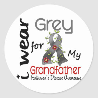 Parkinsons Disease I Wear Grey For My Grandfather Classic Round Sticker