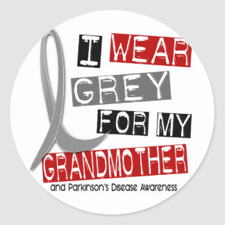 Parkinsons Disease I WEAR GREY FOR MY GRANDMOTHER Classic Round Sticker