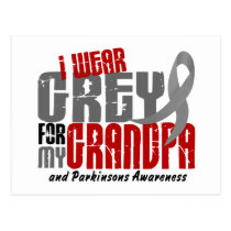 Parkinsons Disease I WEAR GREY FOR MY GRANDPA 6.2 Postcard