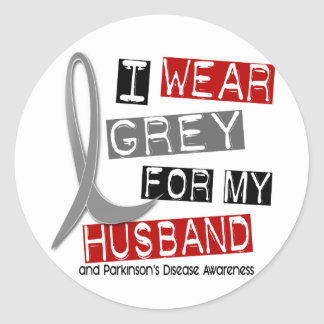 Parkinsons Disease I WEAR GREY FOR MY HUSBAND 37 Classic Round Sticker
