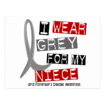Parkinsons Disease I WEAR GREY FOR MY NIECE 37 Postcard