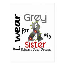 Parkinsons Disease I Wear Grey For My Sister 43 Postcard