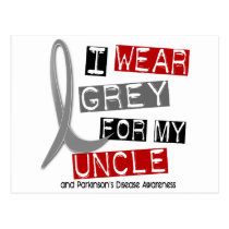 Parkinsons Disease I WEAR GREY FOR MY UNCLE 37 Postcard