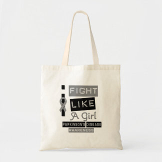 Parkinson's Disease Label Logo I Fight Like A Girl Budget Tote Bag