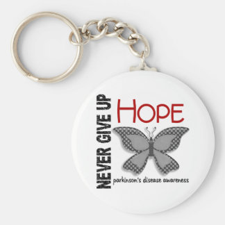 Parkinson's Disease Never Give Up Hope Butterfly 4 Basic Round Button Keychain