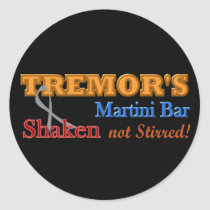 Parkinson's Tremor's Martini Bar Shaken Design Classic Round Sticker