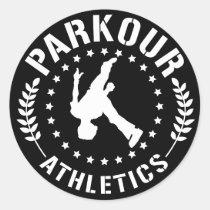 parkour, athlete, free running, sport, running, flip, Sticker with custom graphic design