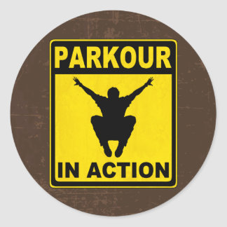 Parkour In Action Signboard Classic Round Sticker