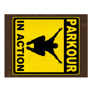 Parkour In Action Signboard Postcard