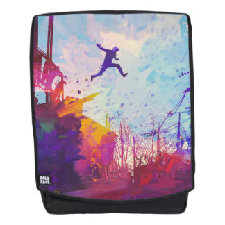 Parkour Urban Free Running Freestyling Modern Art Backpack