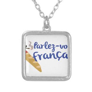 Parlez-vous Franais? Square Pendant Necklace