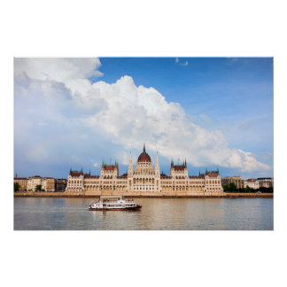 Parliament Building and Danube River in Budapest Poster