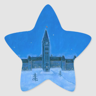 Parliament Buildings Ottawa Christmas Star Sticker
