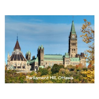 Parliament Hill in Autumn, Ottawa. Postcard