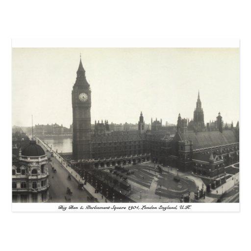 Parliament Square, Big Ben, London England 1904 Postcard