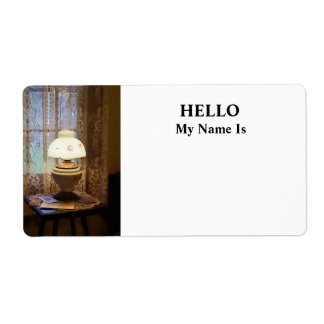 Parlor With Hurricane Lamp Label