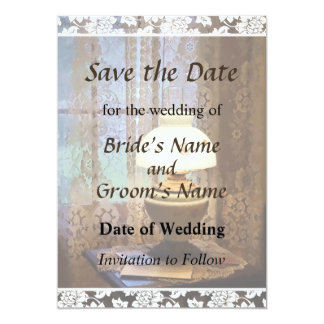 Parlor With Hurricane Lamp Save the Date Card