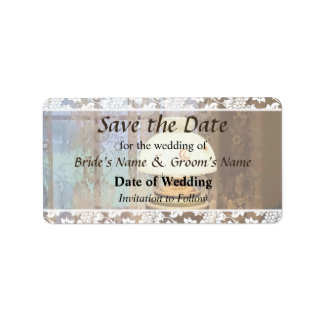 Parlor With Hurricane Lamp Save the Date Label