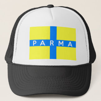 parma city flag italy country name text trucker hat