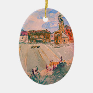 parma italy art Double-Sided oval ceramic christmas ornament
