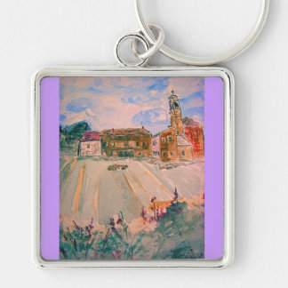 parma italy watercolour Silver-Colored square keychain