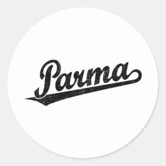 Parma script logo in black distressed classic round sticker