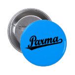 Parma script logo in black pinback buttons