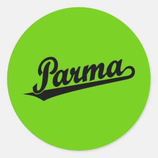 Parma script logo in black round sticker