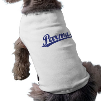 Parma script logo in blue distressed doggie tee shirt