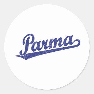 Parma script logo in blue distressed round stickers
