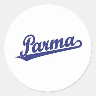 Parma script logo in blue round sticker