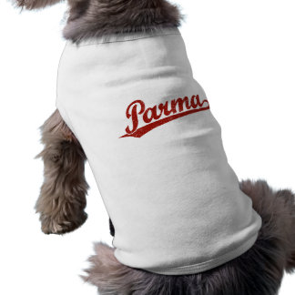 Parma script logo in red distressed dog tee shirt