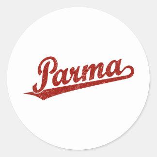 Parma script logo in red distressed round sticker