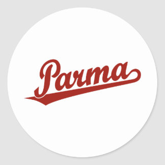 Parma script logo in red round stickers