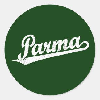 Parma script logo in white distressed classic round sticker