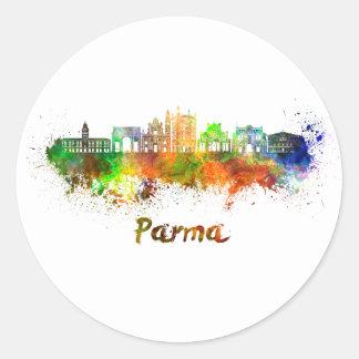 Parma skyline in watercolor classic round sticker