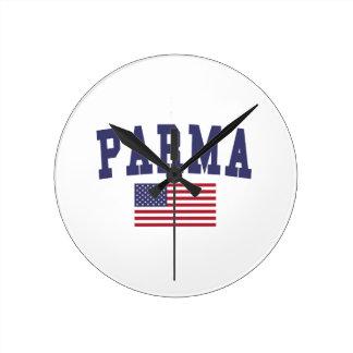 Parma US Flag Round Clock