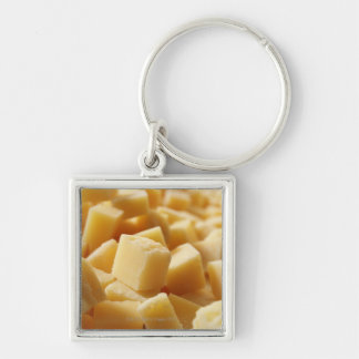 Parmigiano Reggiano cheese in cubes Silver-Colored Square Keychain