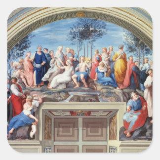 Parnassus and the Disputa, from the Stanza della S Square Sticker