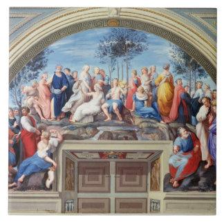 Parnassus y el Disputa, del della S de la estrofa Azulejo Cuadrado Grande