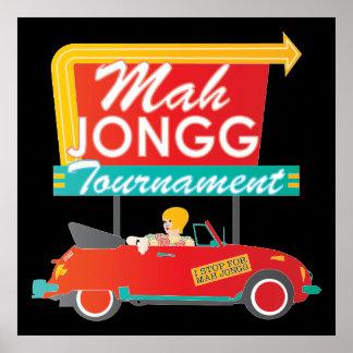 Paro para la muestra retra del Mah Jongg Póster