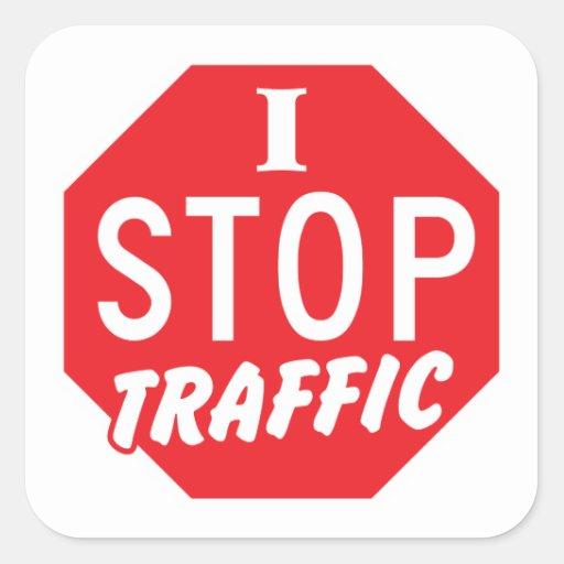 PARO tráfico con una muestra roja de la parada Pegatina Cuadradas