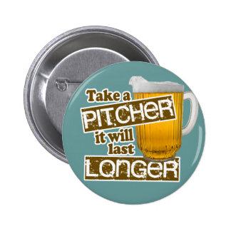 Parodia de consumición de la cerveza divertida pin redondo de 2 pulgadas