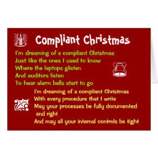 Parodia obediente de las letras del navidad blanco tarjeta de felicitación