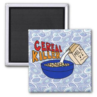 Parody Cereal Killer Breakfast Food Humor 2 Inch Square Magnet