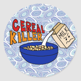 Parody Cereal Killer Breakfast Food Humor Classic Round Sticker