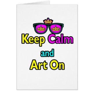 Parody Hipster Crown Sunglasses Keep Calm And Art Card
